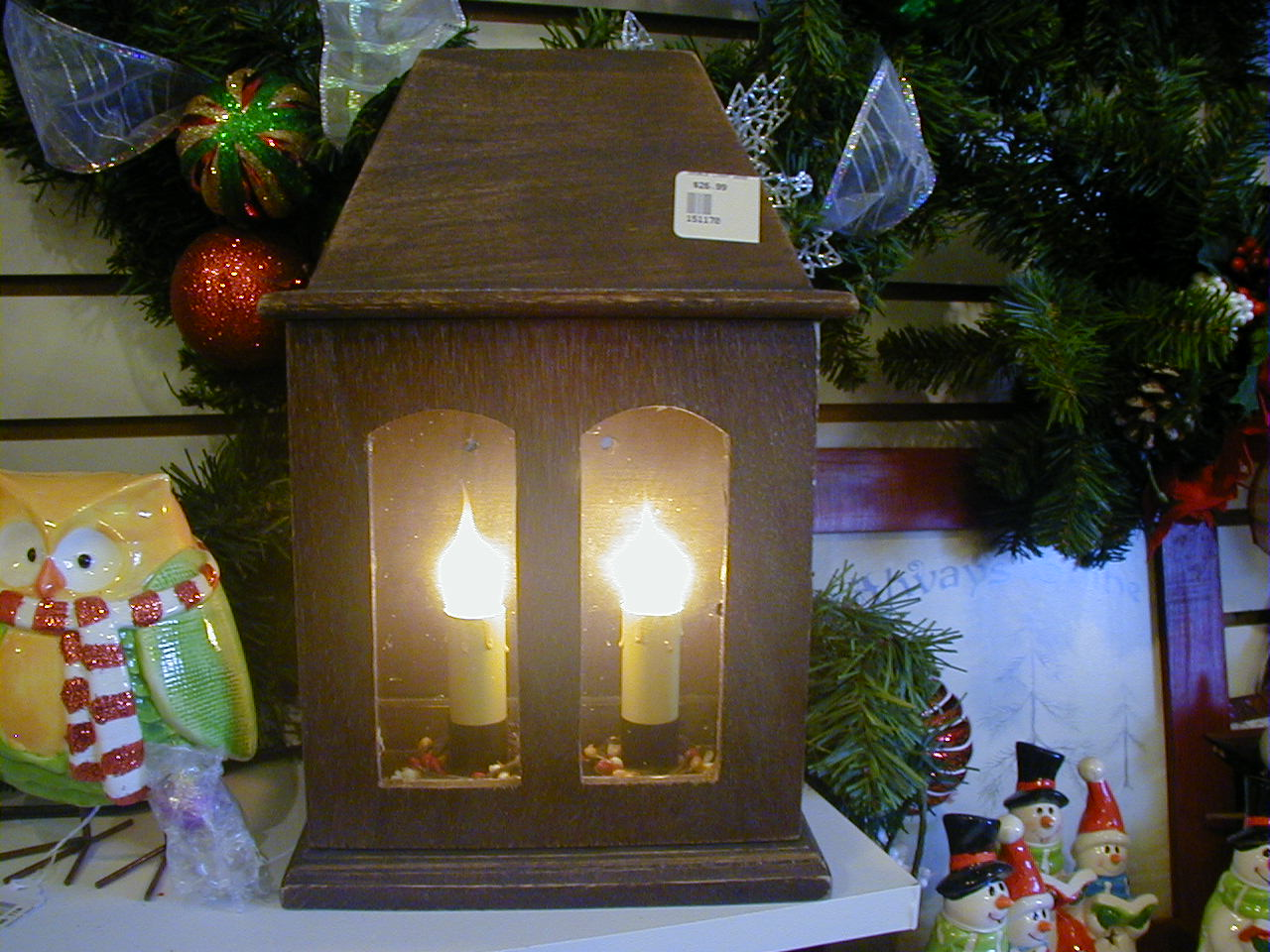 Double Wood Candle Lamp