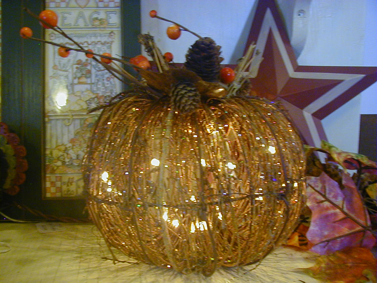 Lighted Twig Pumpkin